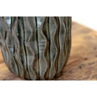 Vase noir en céramique texturée, 7.5 x 5 x 5''