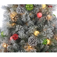 4,5' Flocked Pine Christmas Tree with Pine Cones & Ornaments