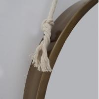 Miroir en métal suspendu par une corde,  20 x 2 x 20.5''