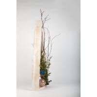 Sapin en bois avec accents de bleu, 33''