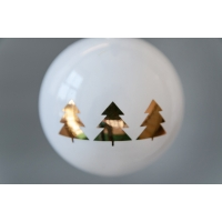 Set of 6 White Ornaments with Gold Christmas Trees, 3''