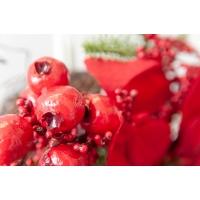 Guirlande de pin avec poinsettias et baies rouges, 6'