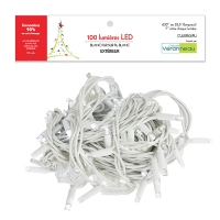 100 Pur white led string with white rubber wire, outdoor
