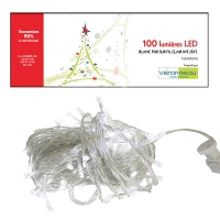 Led string light, 100, pure white with clear wire, indoor