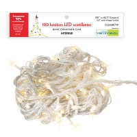 100 Twinkle led string, warm white and clear wire, indoor on