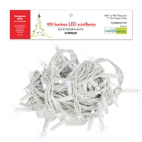 100 Twinkle pur white led string with white rubber wire, out