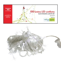 100 Twinkle led string, pure white and clear wire, indoor on