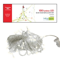100 Led string light, warm white and clear wire, indoor only
