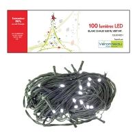 100 Led string light, pure white and green wire, indoor only