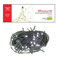100 Led string light, pure white and green wire, int./ext.