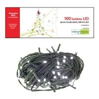 100 Lumières led blanc pur sur fil vert int./ext.