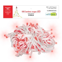 101 Red led string, white rubber wire, outdoor