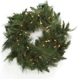 24'' Artificial led illuminated pine wreath #102