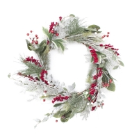 26'' Snowy pine wreath with red berries