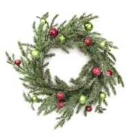 24'' Snowy pine wreath with red and green balls