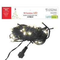 50 Led string light, warm white and green wire, ind./out.