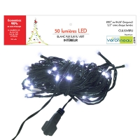 50 Led string light, pure white and green wire, ind./out.