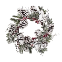 24'' Snowy berry and pine wreath