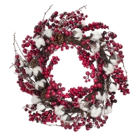 26'' cotton flower & berry wreath