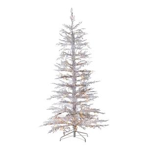 Sapin  6,5' enneigé blanc illuminé