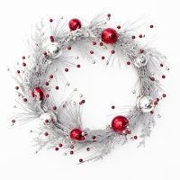 Silver and red glitter wreath 24''