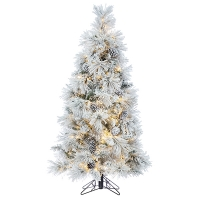 5' Flocked Pine Tree with Warm White LED Lights