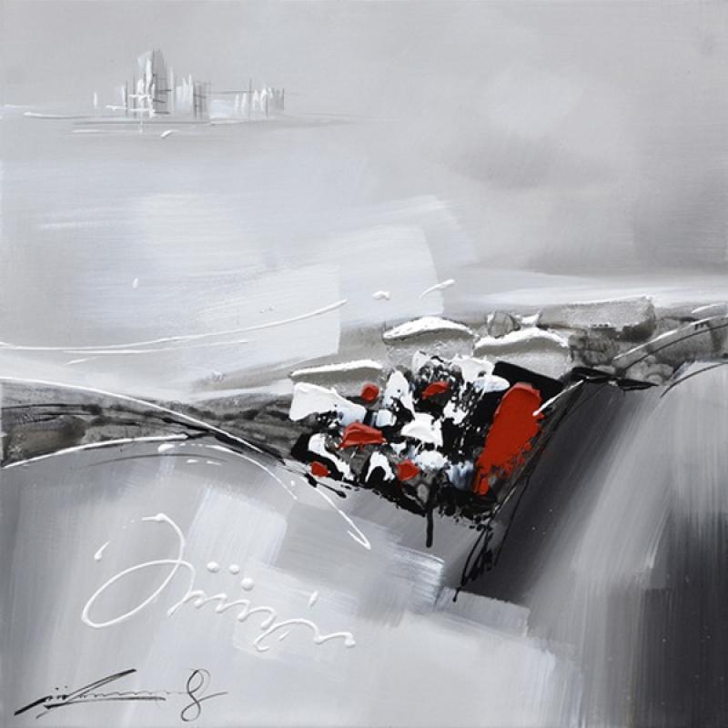 tableau abstrait gris noir et rouge 23 5x23 5 39 39 plantes