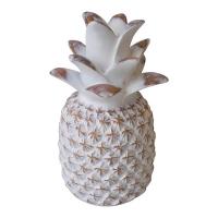 Ananas décoratif blanc, effet bois vieilli