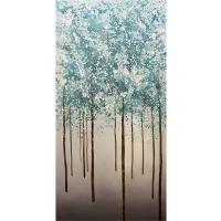 Arbres bleus abstraits, fini lustré 30 x 60''