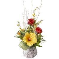 Arrangement artificiel coloré, fleur d'hibiscus