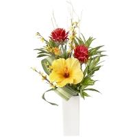 Arrangement artificiel, hibiscus jaune et pot blanc