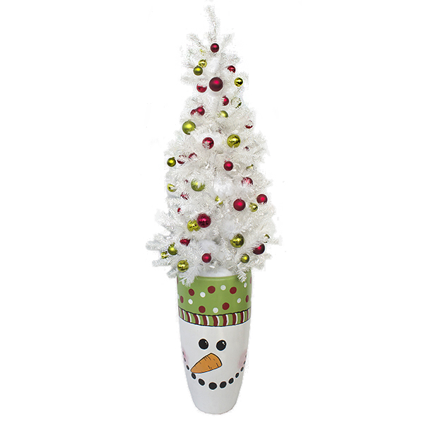 Arrangement avec sapin blanc et pot en bonhomme de neige - Sapin rose et blanc ...