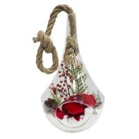 Arrangement in a hanging glass bell 18''(H) x 8''.