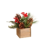 Holly and berry in wood box 10''
