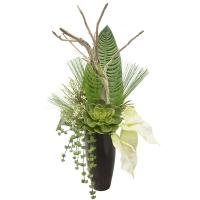 Arrangement de bois, feuillage et plante grasse