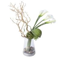 Arrangement de callas, plantes grasses et bois