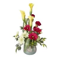 Arrangement de fleurs artificielles, callas et gerberas