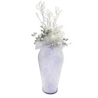 Arrangement de Noël illuminé dans vase de vitre 57 x 26''