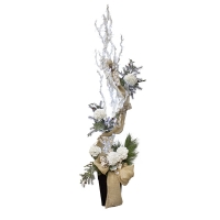 Christmas dragonwood arrangement with lights, 7''