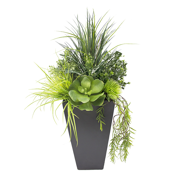 Arrangement de verdure et plantes grasses pot noir d cors v ronneau - Plantes grasses en pot ...