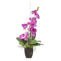 Arrangement d'orchidées artificielles fushias