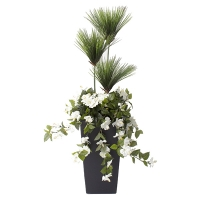 40'' Outdoor papyrus & white flowers planter