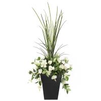 Jardinière en pot, hibiscus blancs 40'', garantie 2 ans