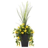 Jardinière en pot, hibiscus jaunes 40'', garantie 2 ans