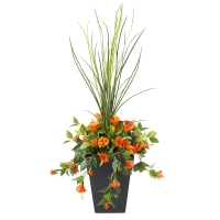Jardinière en pot, hibiscus orange 40'', garantie 2 ans