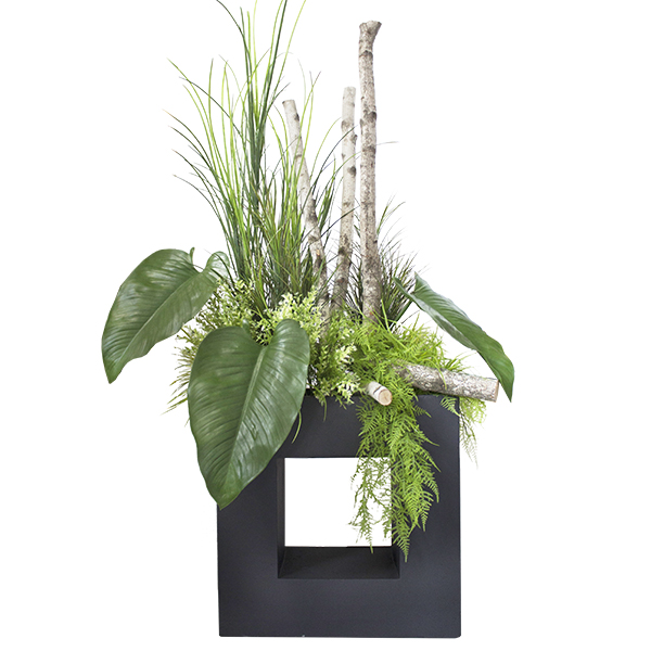 Arrangement ext rieur dans pot moderne rectangulaire for Arrangement floral exterieur