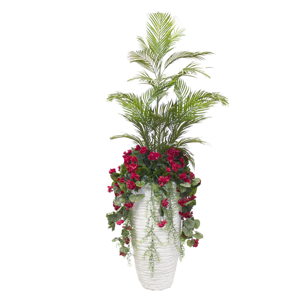 Outdoor red geranium arrangement in white tall planter - Pot de decoration exterieur ...