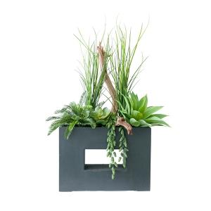Arrangement extérieur moderne, bois et verdure