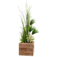 Arrangement de papyrus et fleurs blanches