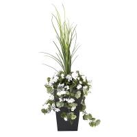 Jardinière en pot, géraniums blancs 40''